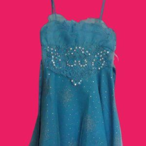 Blue Party Dress Girl Size 8 NWT